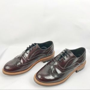 Massimo Dutti Women Burgundy Leather Oxford Shoes